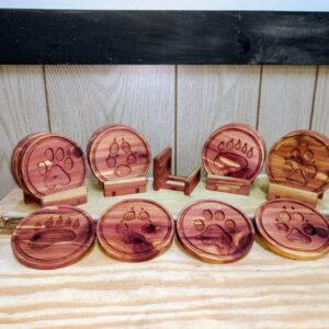 Red Cedar Pawprint Coasters - Tinkergryphon.com