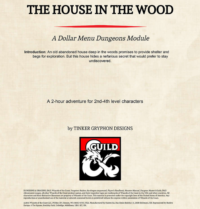 The House in the Wood | Tinker Gryphon