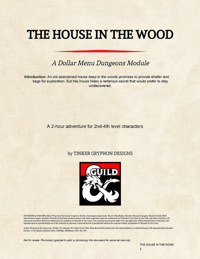 The House in the Wood - Tinker Gryphon